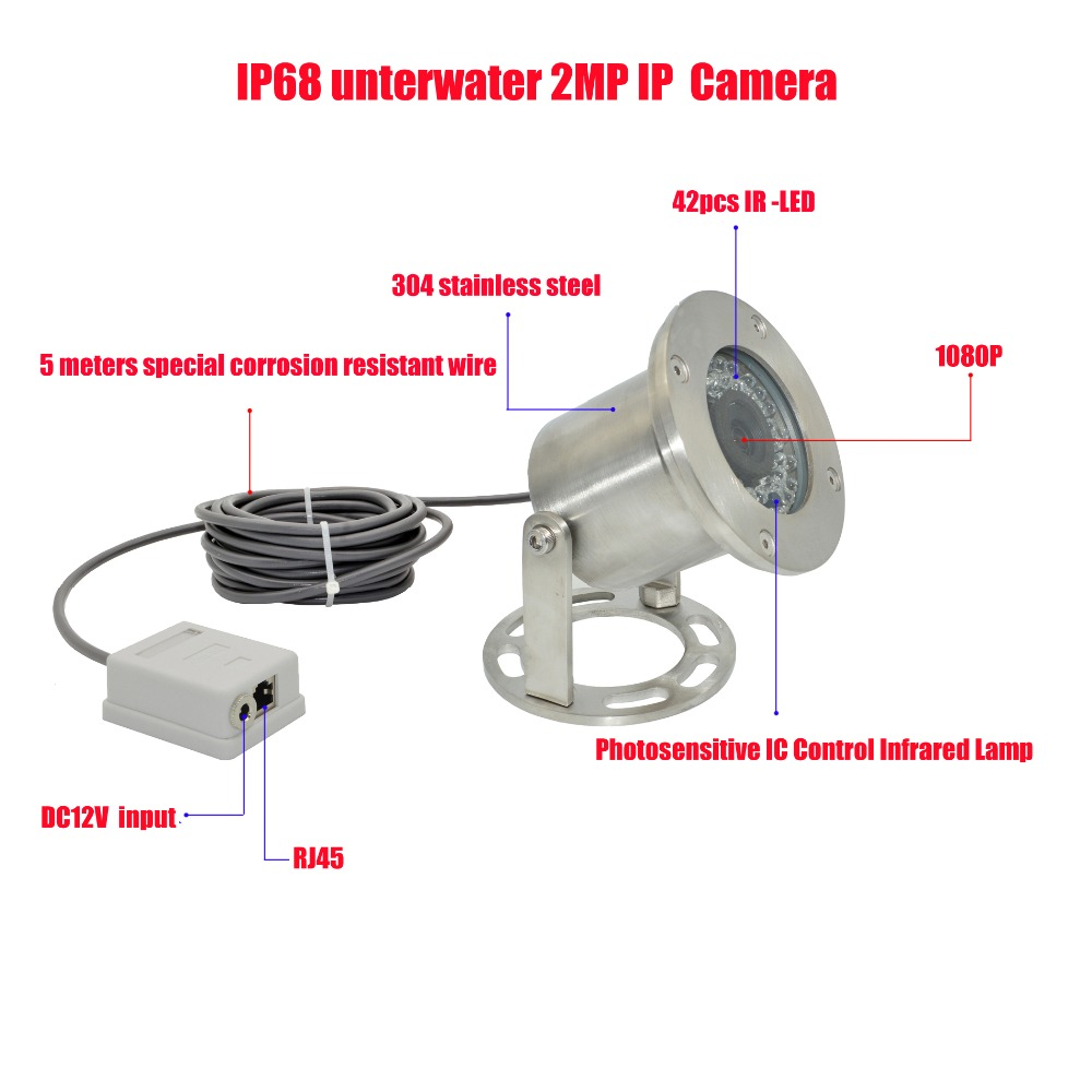 Free shipping 304 Stainless Steel 1080P IP68 Underwater POE IP Camera Underwater Camera Line 5 Meters