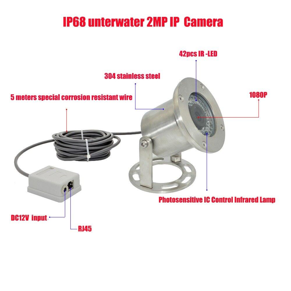 O envio gratuito de 304 de Aço Inoxidável 1080P IP68 POE IP Câmera Subaquática Câmera Subaquática Linha 5 Metros à prova de Explosão-