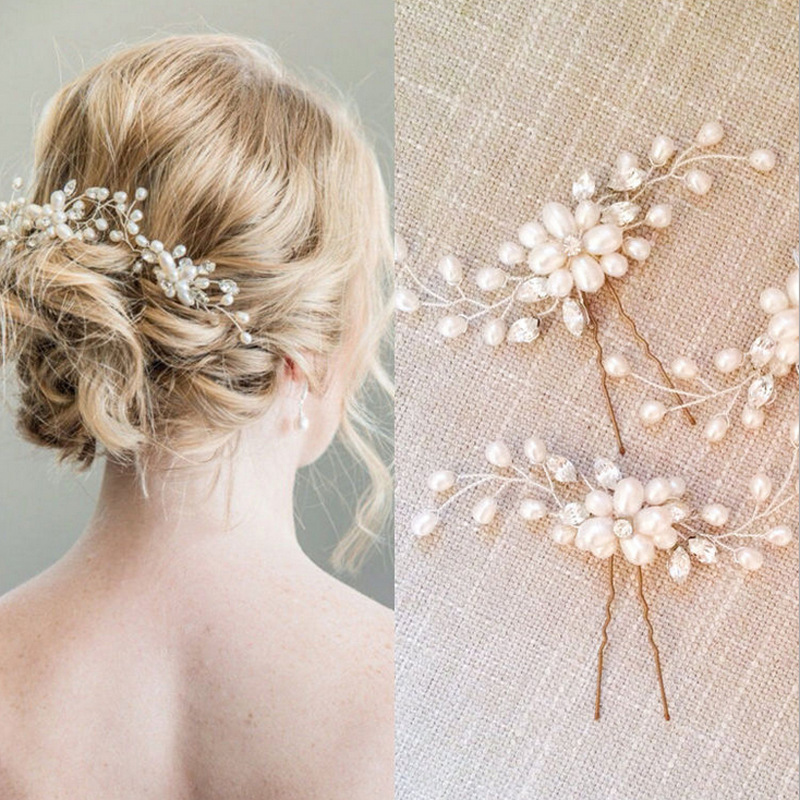 1Pcs Crystal Pearl Hairpins Women Lady Hair Clips Hairclip Hair Flowers Brides Wedding Hair Accessories Headdress Headwear butterfly shell pearl camellia hairpins new retro edge hair clips hair ornaments headdress girls hair accessories for women 1pcs