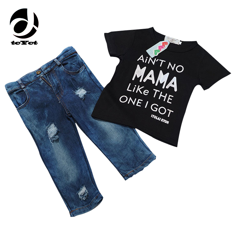 tcYct Newborn Toddler Infant Clothing,Cool Baby Boy Clothes outfits,Baby kids T-shirt Tshirt +Ripped Jeans Denim Pants Set newborn toddler girls summer t shirt skirt clothing set kids baby girl denim tops shirt tutu skirts party 3pcs outfits set