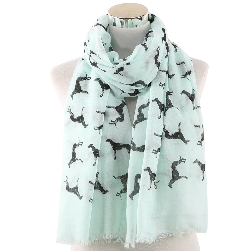 Ladies Animal Printed Scarf New Korean Style High Quality Lovely Dog Shawl 70*180CM Polyester Breathe Tassels Thin Scarf
