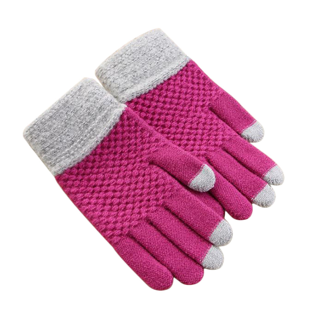 Women Winter Knitted Warm Solid Color Thick Touch Screen Knit weave Stretch Glovess White,Pink,Red,Blue,Black New