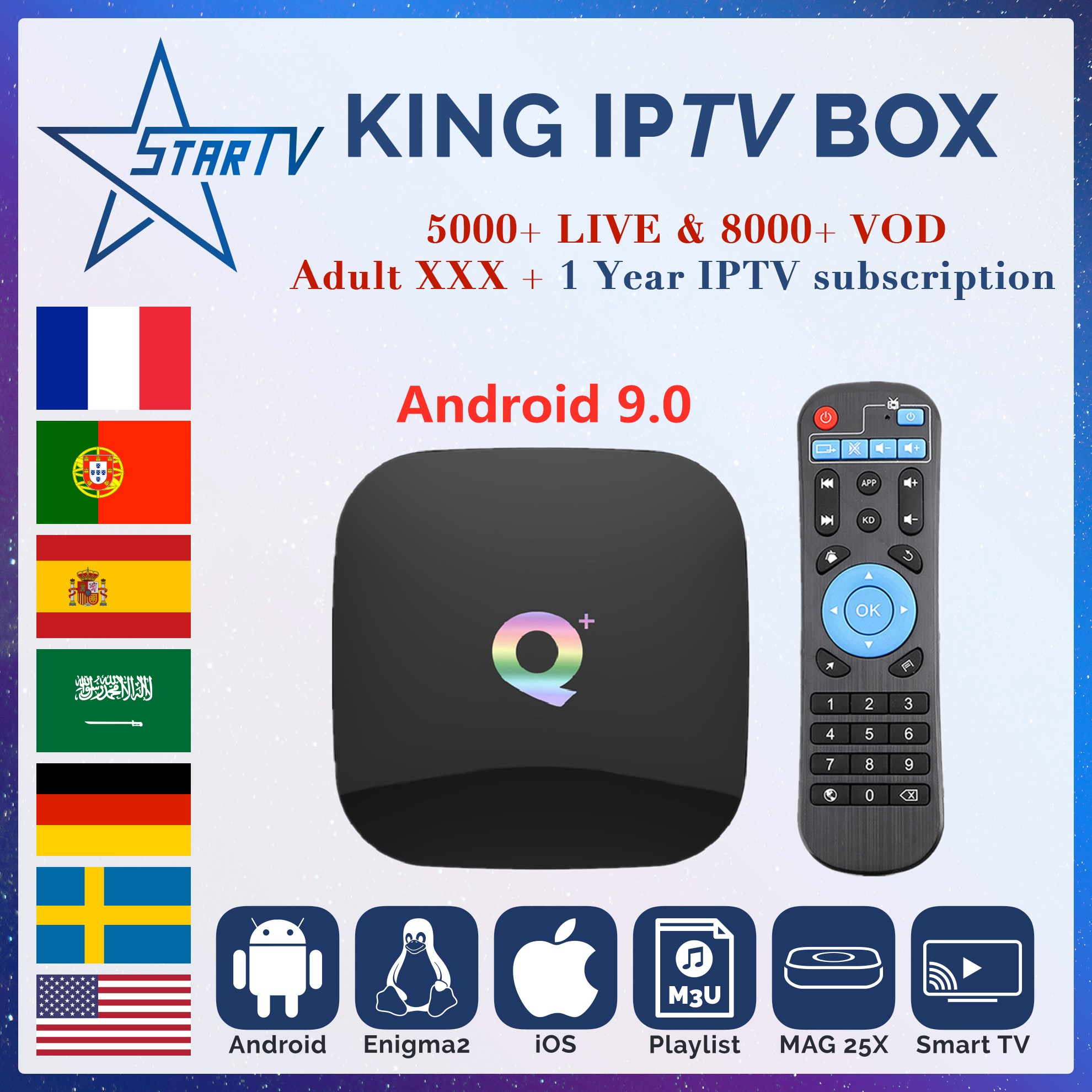 Q Plus Smart TV Box Android 9 0 KING iptv subscription 6000 Live for IPTV France