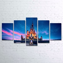 Sale Canvas Home Decor Wall Art Framed Pictures HD Printed Artworks 5 Pieces Neuschwanstein Painting Kids Room Castle Posters PENGDA