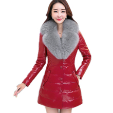 Europe USA Women Winter Fake Leather Fur Coat Huge Faux Fur Collar Female Jackets Imitation Leather Outcoat with Pockets FR012