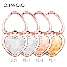O.TWO.O Heart Shape Shimmer Face Powder Bronzer Lasting Nose Highlight Shining Pressed Powder Makeup Illuminator Pressed Powder