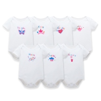 7PCS/LOT Bodysuit Baby lot funny Baby Boy Clothes Cotton Short Sleeve Summer Girl Clothes Overalls Infant Jumpsuits Roupas Bebe