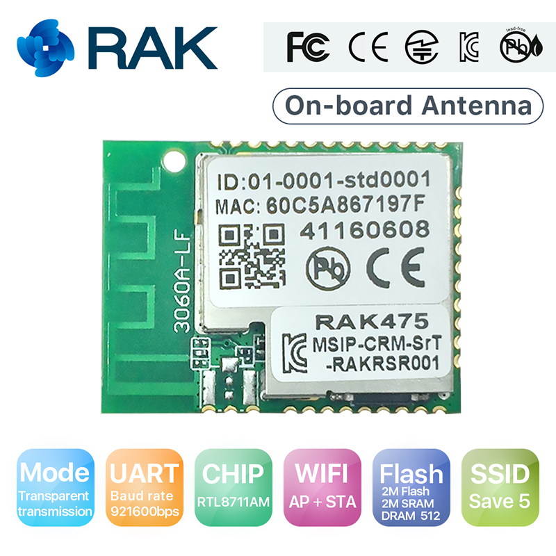 RAK475 Low Power UART Serial to WIFI Industrial Module AP STA Mode Wireless IoT Module Internal Antenna CE FCC kCC Certify Q115 iot esp8266 wireless wifi serial module esp 07s