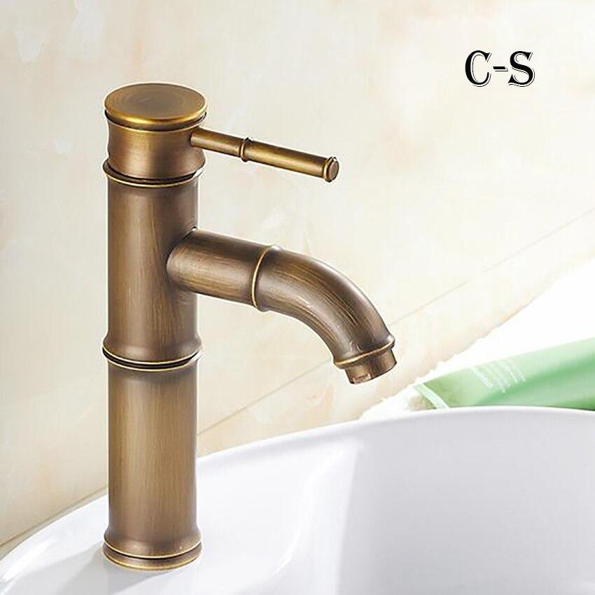 Европейский античный кран для ванной комнаты, латунный кран для раковины, высокий бамбуковый кран для горячей и холодной воды с двумя трубами, кухонный уличный садовый кран - Цвет: C-S