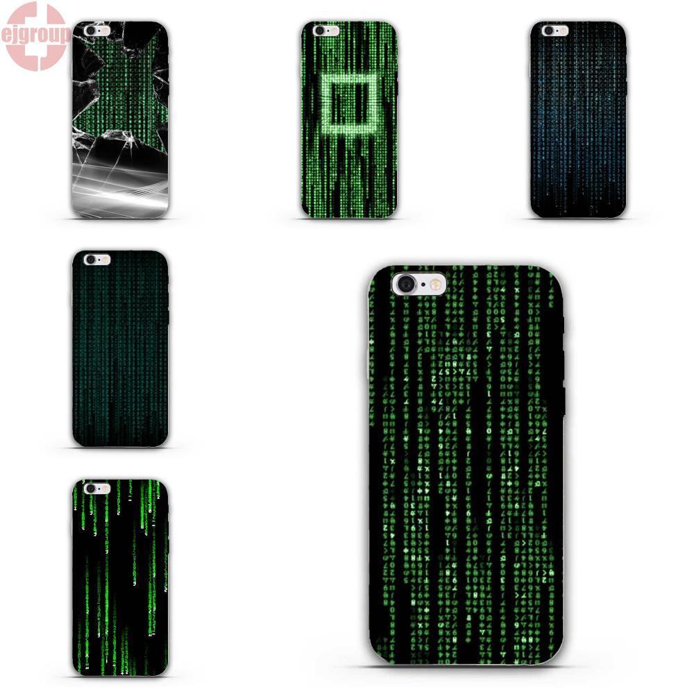 EJGROUP Matrix Code For iPhone 4 4S 5 5C SE 6 6S 7 8 Plus X Soft TPU Silicon Call Box