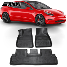 Sanvi Car rubber foor mats for Tesla Model3 Front and Rear Foot Pad All Weather Mats  Anti-dirt Non-slip