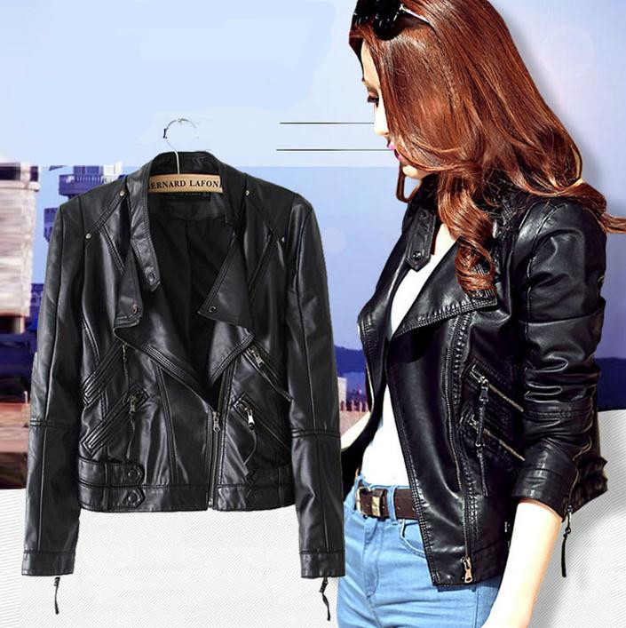 New women PU leather jacket brief paragraph coat Fashion European women casual locomotive short jacket coats