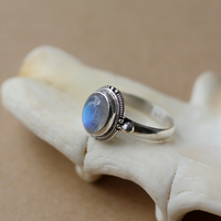 Su Causeway Jogging India Nepal Handmade 925 Silver Inlaid Moonstone Ring