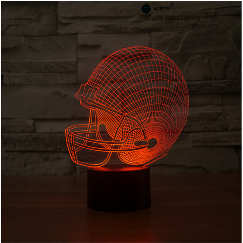 Football cap touch switch LED 3D lamp,Visual Illusion 7color changing 5V USB for laptop,Christmas cartoon toy lamp
