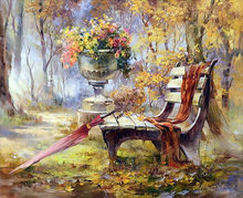 diamond painting scenery,autumn garden chairs,paint with diamonds,diamond embroidery(China)