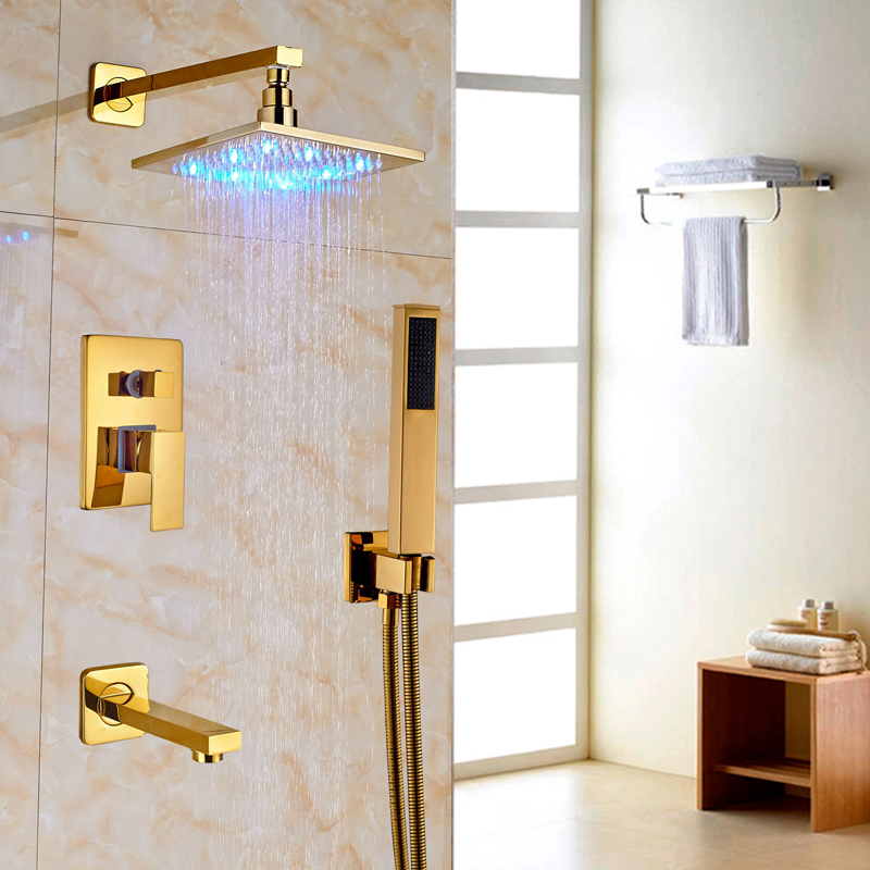 Luxury Gold Finish Bathroom Shower Faucet with 8 Brass Shower Head with LED Light sognare new wall mounted bathroom bath shower faucet with handheld shower head chrome finish shower faucet set mixer tap d5205