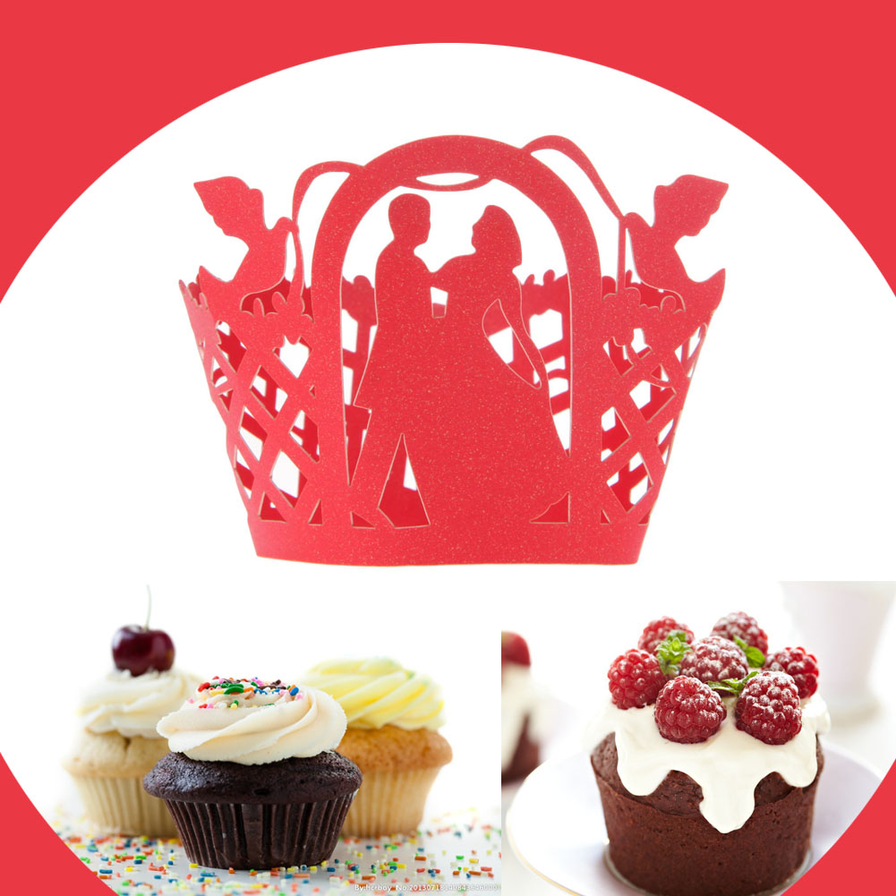 ₪12pcs Hollow Cake Decoration Wedding Filigree Vintage Cupcake ...