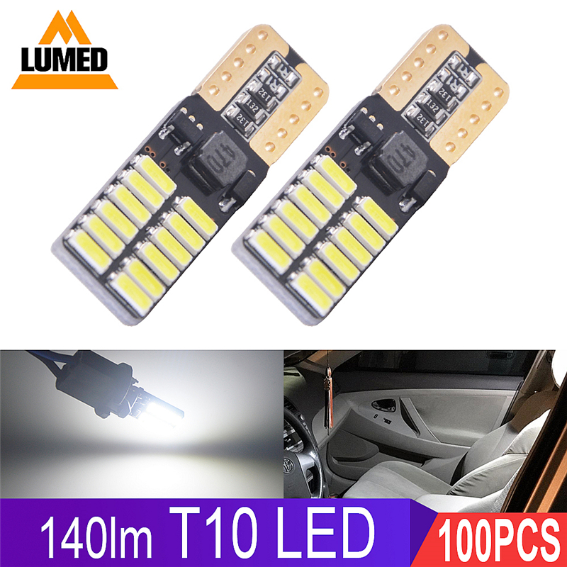 100x T10 LED Car light 194 W5W 24 4014 SMD Auto LED Turn Side License Plate