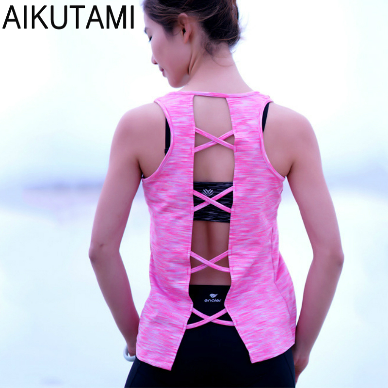 Sexy Cross Sport Shirt for Women Yoga Tank Tops Fitness Woman Sports Wear Polera Deportiva Women Yoga Top Dry Fit Running Vest