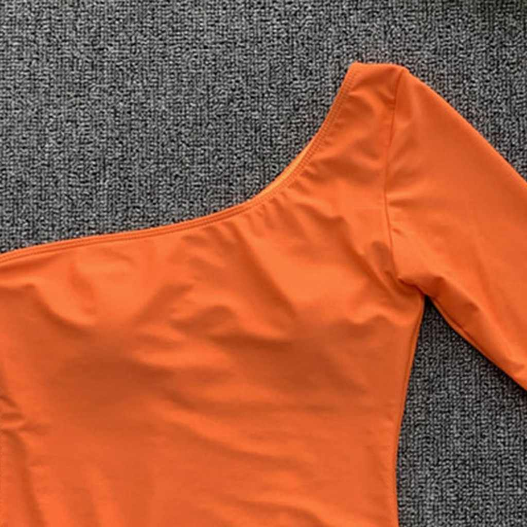Bikini 2019 Mujer Wanita 1-Piece Swimsuit Padat Satu Bahu Lengan Panjang Bikini Beachwear Maillot De Bain Femme Biquini