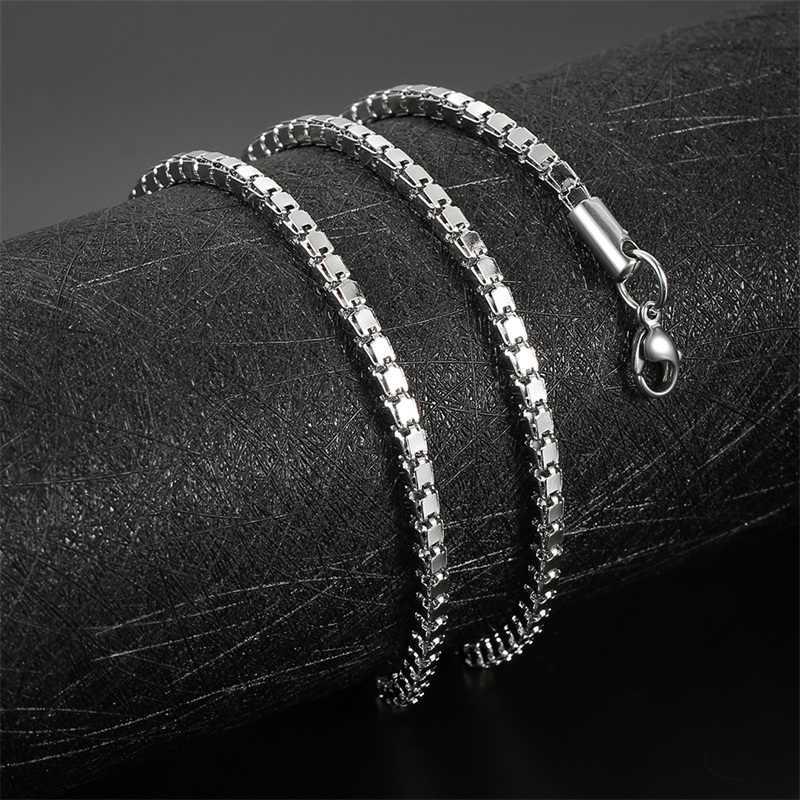 AZIZ BEKKAOUI 1-6MM stal nierdzewna srebrny Tone wąż Link płaskie pudełko łańcuch kwadratowe łańcuchy mężczyźni naszyjnik Choker biżuteria