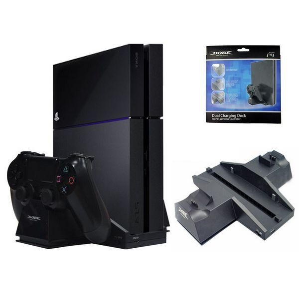Dual USB Charging Dock for PS4 wireless controller Cooling fan Base Stand for playstation 4 Game Controller Black Charger