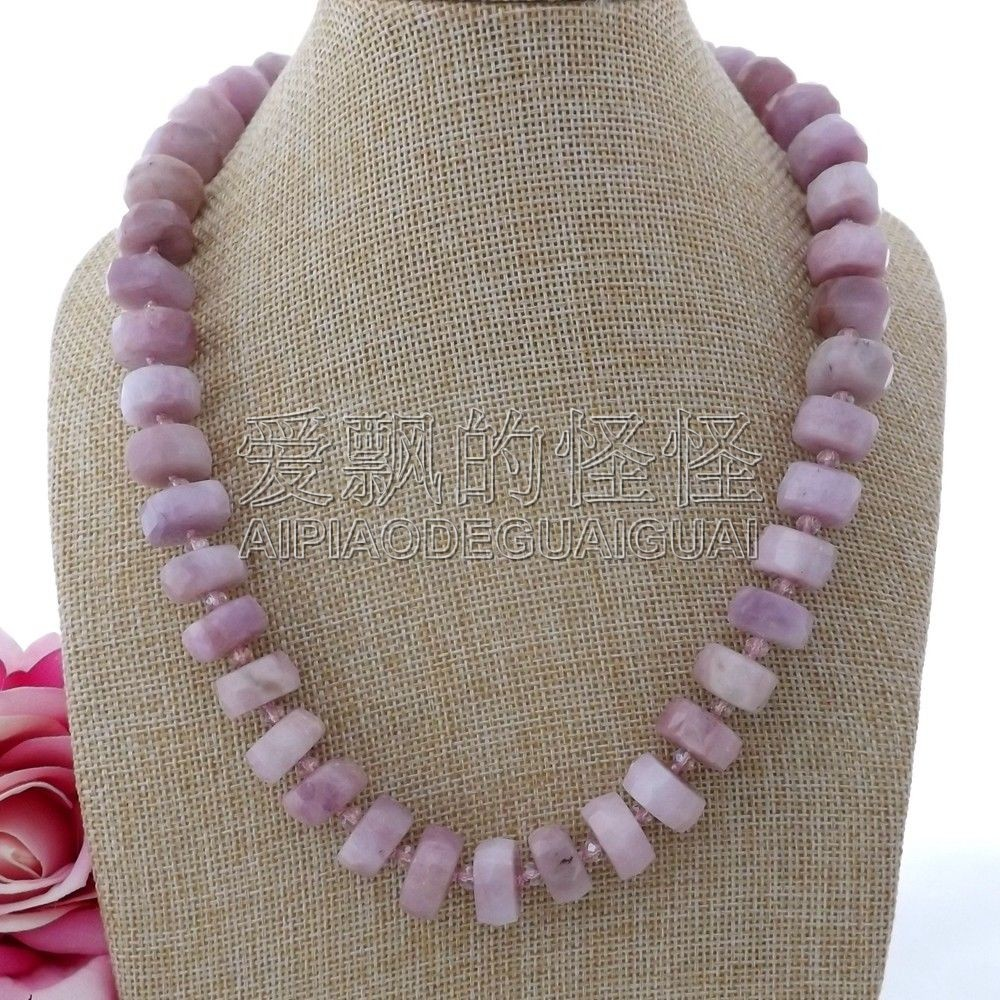 N091208 8x14mm 20'' Natural Faceted Kunzite Necklace
