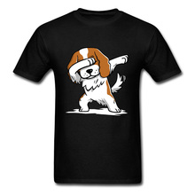 Dabbing Cavalier King Charles Dog All Cotton Men T-shirts Shih tzu Pug Hip Hop Unique Short Sleeve Tops T Shirt Terrier Corgi