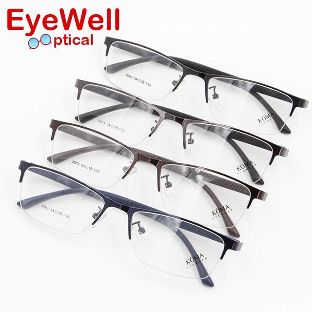 Novos Senhores Moda Óculos de Miopia Óculos Masculinos Óculos de Metal Quadros Hlaf Aro para Os Homens
