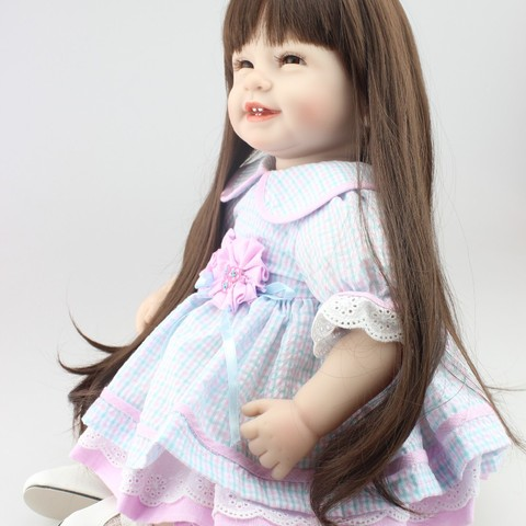 NPK Reborn Baby Doll with long hair Realistic Soft silicone Reborn Babies Girl 22Inch Adorable Bebe Kids Brinquedos boneca Toy Lahore