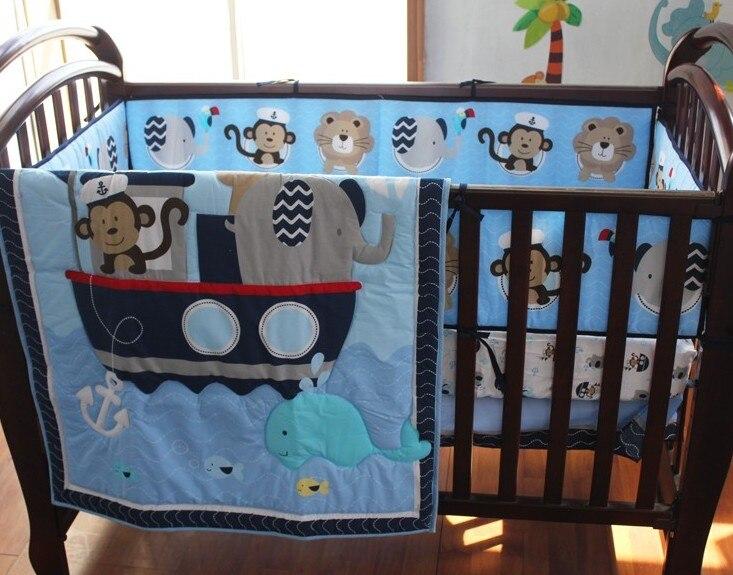 Promotion! 8PCS Unisex Baby Cot Bedding Set for Crib Bedding for Newborn Infant,(4bumper+duvet+bed cover+bed skirt+diaper bag) promotion 6pcs forest animals boy baby cot crib bedding set 4bumper bed cover bed skirt