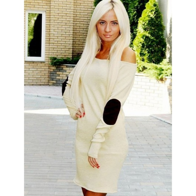 Sexy Women Off Shoulder Long Sleeve Short Mini Dress