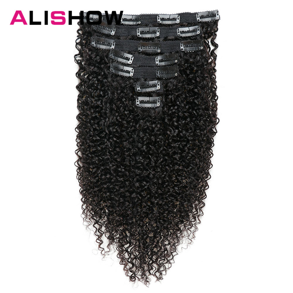 Alishow Indian Afro Kinky Curly Weave Remy Hair Clip In Human Hair Extensions Natural Color Full Head 10Pcs/Set 120G Ship Free(China)