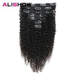 Alishow Индийский афро кудрявый вьющиеся Заплетенные волосы клип в пряди человеческих волос для наращивания натуральный цвет полная голова 7