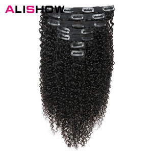 Alishow Human-Hair-Extensions Weave Remy-Hair Afro Curly Ship-Free Clip-In Kinky Indian