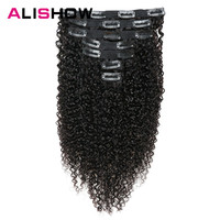 Alishow Indian Afro Kinky Curly Weave Remy Hair Clip In Human Hair Extensions Natural Color Full Head 7Pcs/Set 120G Ship Free