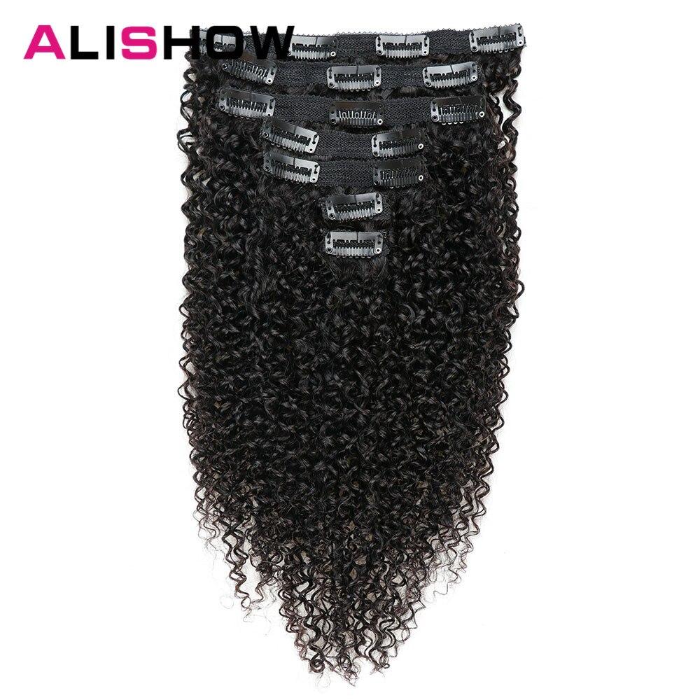 Alishow индийские афро кудрявые вьющиеся Заплетенные волосы на заколках для наращивания человеческих волос натуральный цвет полная голова 10 шт./компл. 120 г Бесплатная доставка