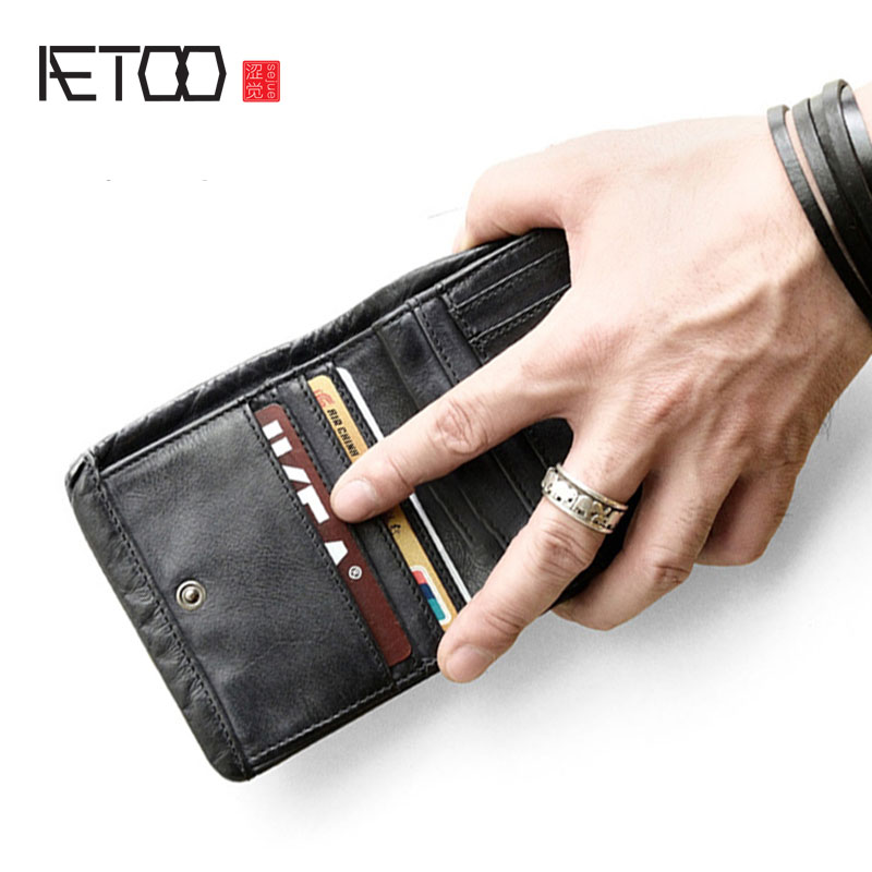 AETOO Retro nostalgic cowhide square small wallet men s short leather female money clip