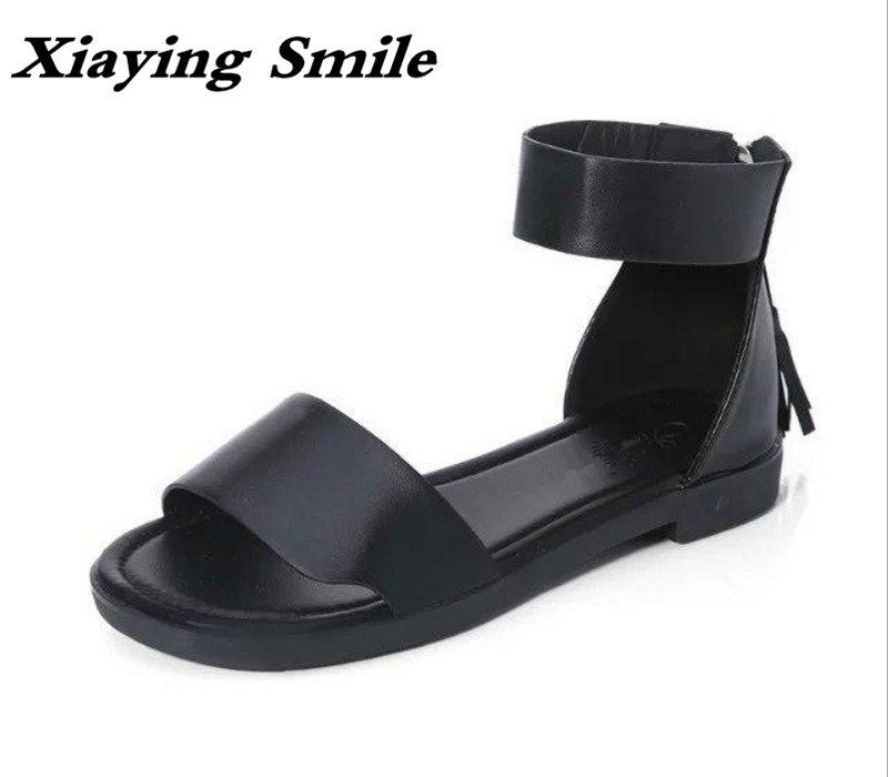 Xiaying Smile Summer New Woman Sandals Casual Fashion Shoes Women Zip Fringe Flats Cover Heel Consice Style Rubber Student Shoes xiaying smile summer woman sandals square cover heel woman pumps buckle strap fashion casual flower flock student women shoes