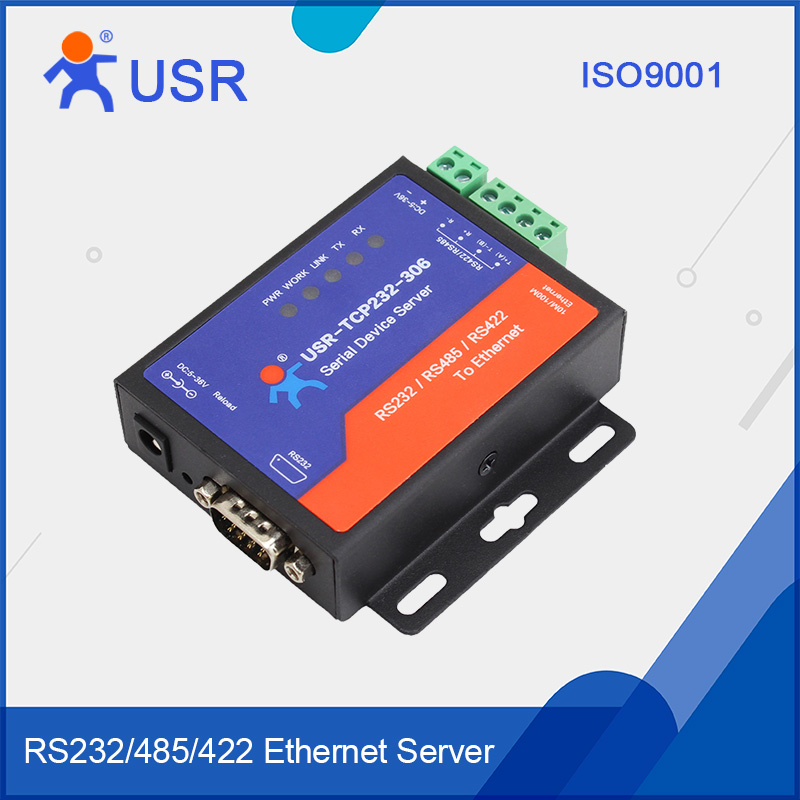 USR-TCP232-306 Serial Device Server RS232 RS485 RS422 to TCP IP Converter DNS/DHCP q18040 usriot usr n520 serial to ethernet server tcp ip converter double serial device rs232 rs485 rs422 multi host polling