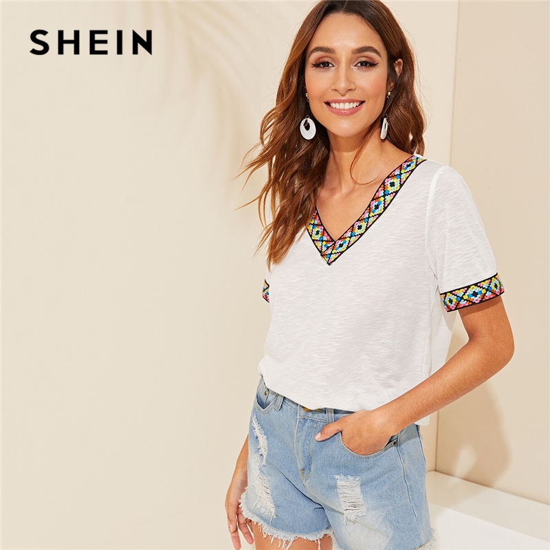 SHEIN Black or White V Neck Aztec Embroidered Tape Trim Tee Short Sleeve   T     Shirt   Women 2019 Summer Soft Boho Casual Tops