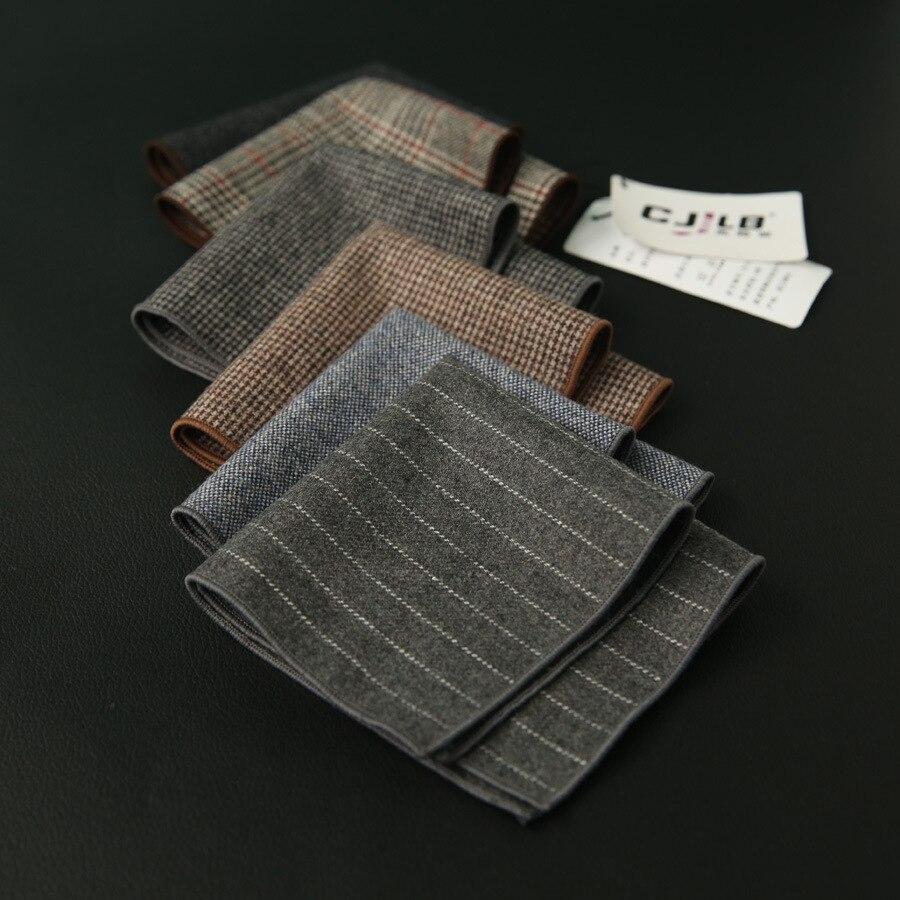 Hankerchief Scarves Men's Business Suit Hankies Wool Plaid  Casual  Pocket Square 24x24cm 30pcs/lot