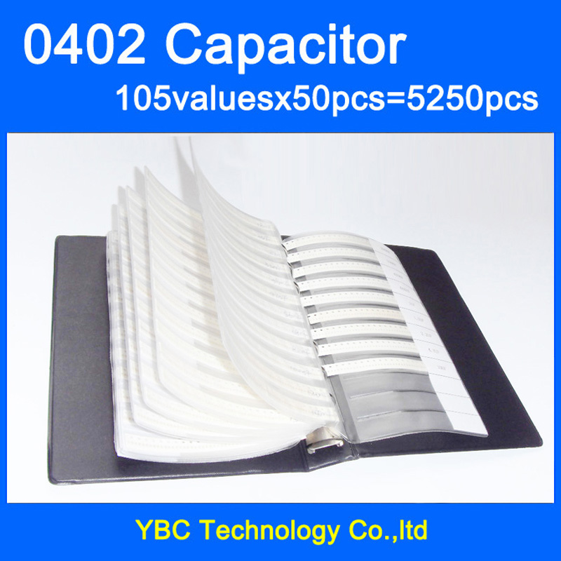 Free Shipping 0402 SMD Capacitor Sample Book 105valuesX50pcs 5250pcs 0 1PF 10UF Capacitor Assortment Kit Pack
