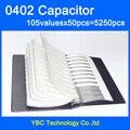 O Envio gratuito de 0402 SMD Livro Da Amostra Capacitor muRata 105valuesX50pcs = 5250 pcs 0.1PF ~ 10 UF Capacitor Variedade Pack Kit