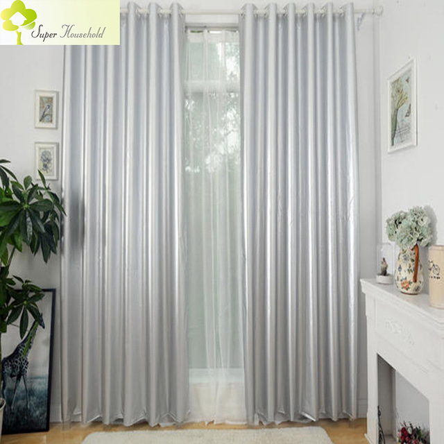 US $15.76 35% OFF|99% Blackout Curtains for the Bedroom Silver Coating  Drapes for Living Room Sun Block/ Insulation Cheap Curtains Light Weight-in  ...