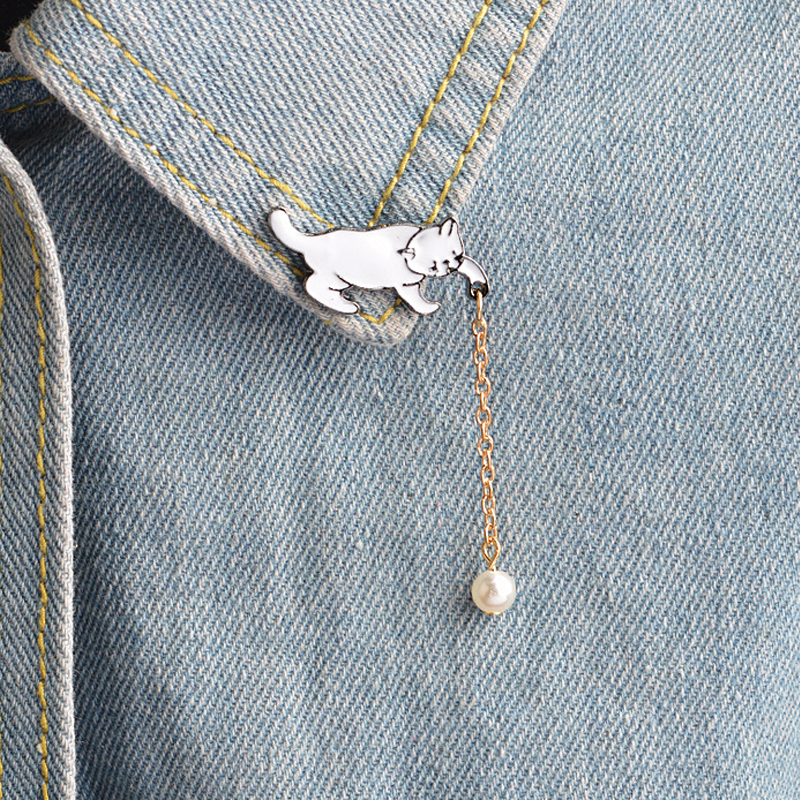 Honest 1 Pcs Cartoon Cat Pearl Pendant Metal Brooch Button Pins Denim Jacket Pin Jewelry Decoration Badge For Clothes Lapel Pins Year-End Bargain Sale Arts,crafts & Sewing