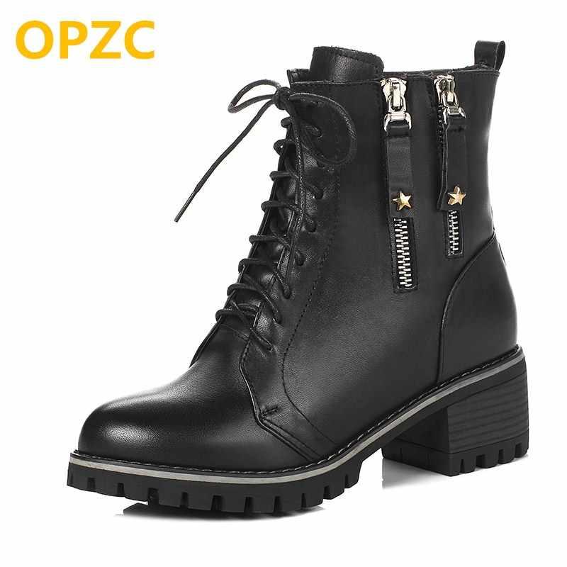 05a4a16e5 Подробнее Обратная связь Вопросы о OPZC/женские военные ботинки, зима 2019,  новые женские роскошные кожаные ботинки, большой размер 41, 42, 43, ...