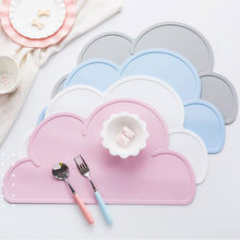 Cute Silicone Placemat FDA Bar Mat Baby Kids Cloud Shaped Plate Mat Table Mat BPA Free Waterproof Set Home Kitchen Pads 47x27cm(China)