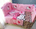 Promotion! 6PCS Hello Kitty Baby Girl Crib Bedding Sets Cotton Baby Bed Accessories for Crib ,include(bumper+sheet+pillow cover)