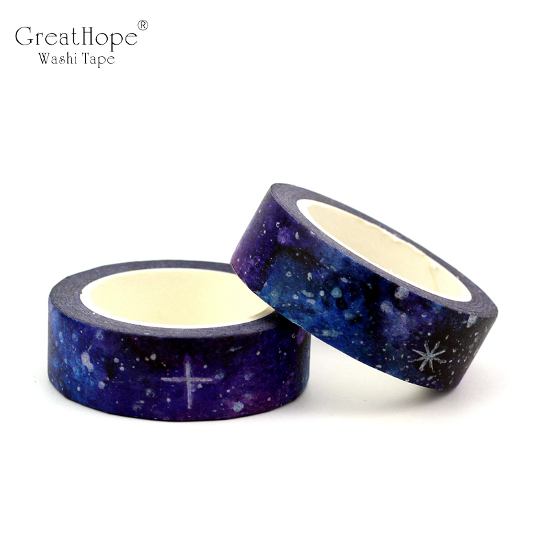 15mmx10m/pc Creative Dream Starry Sky Universe Washi Tape Planet Decor Masking Tapes Great For Crafts Bujo Planner Scrapbooking